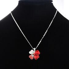 PD: 1 Halskette Necklace Klee Glück Anhänger Rot Kristall Weiß Strass 55cm