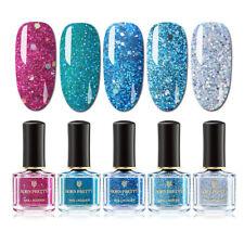 BORN PRETTY 5 Bottles Peel Off Nail Polish Glitter Shimmer Sequins Varnish Blue