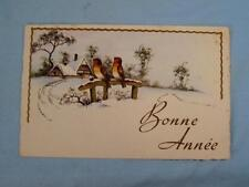 Bonne Annee Happy New Year French France Birds Vintage Unposted Postcard (O)