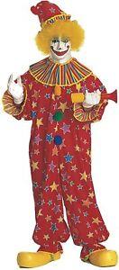Clown Suit Adult 2Pc Poly/Cotton Multi Colored Star Print Jumpsuit & Hat Lg/Xl