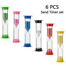 KIT 6 Pezzi CLESSIDRA Sabbia TIMER di sabbia bambini gioco Orologio Colori Casua