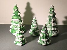 Christmas Village Towne Winter Trees Lot Of 5, 3� & 4 3/4� Figurines