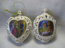 Danbury Mint 2 Nativity Illuminated Ornaments Mary & Joseph & No Roon at the Inn
