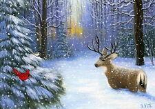 Deer buck cardinal bird winter forest snow limited edition aceo print art