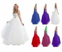 UK Stock Long Evening Formal Party Ball Gown Prom Bridesmaid Wedding Dress 6-18