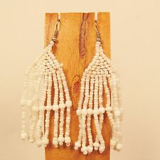 "2 1/2""  Handmade White Chandelier Style Dangle Seed Bead Earring FREE SHIPPING!!"