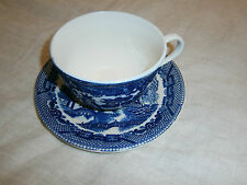 VINTAGE JAPANESE WILLOW BLUE & WHITE CUP AND SAUCER