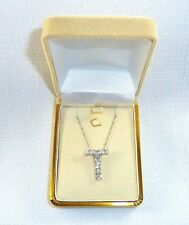 "1.85 ct Genuine White Topaz, Italy 925 Sterling Silver ""T"" Pendant & Chain"