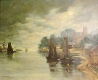 Wilhelm THELEN (1917-1985) - Gemälde: SEGELBOOTE; KLEINER HOLLÄNDISCHER HAFEN