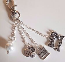 Sewing Themed Keyring Sewing Machine Cotton Reel Buttons Pearl Bead + gift bag