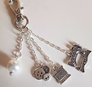 Sewing Themed Keyring Sewing Machine Cotton Reel Buttons Pearl Bead Gift Bagged