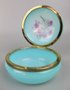 Blue round 1950's vintage Powder Jewellery Trinket Box. Semi-transparent plastic