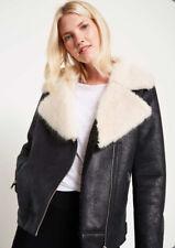 Mint Velvet Faux Fur Aviator Jacket, Black Size 10 RRP £159 **NEW**