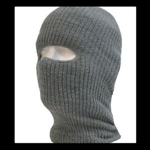 Acrylic Tactical One Hole Face Mask Military Issue Ski Mask Gray USA Made