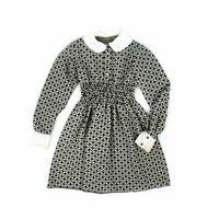 Vintage 70s Girl's Black + White Geometric Print Smocked Hippie Retro Dress 12