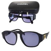 Authentic CHANEL CC Logos Sunglasses Eye Wear Plastic Black 01452 Italy 01EG876