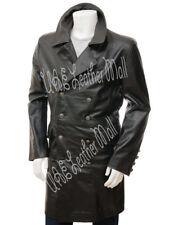 Men Leather Jacket Black Long Coat Biker Motorcycle Genuine Lambskin Jacket Moto