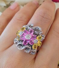 Wide Pink and Yellow Sapphire Flower Ring with Diamonds 2.90 CTW in 18k-HM1418