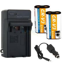 2PCS NEW CR-V3 CRV3 Rechargeable Battery + Charger for KODAK