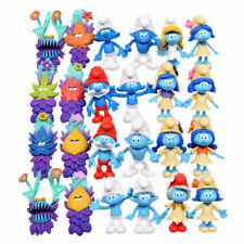 24 Pcs Smurf Clumsy The Lost Village Papa Action Figure Statue Toys Cake Topper