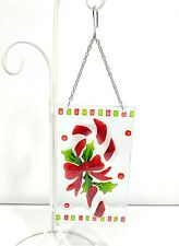 Glass Candy Cane Holly Christmas Window Silhouette Décor