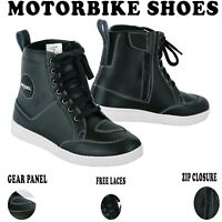 Men's Motorcycle Leather Boots Waterproof Motorbike Racing Shoes CE Armoured UK
