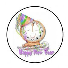 "48 HAPPY NEW YEAR CLOCK ENVELOPE SEALS LABELS STICKERS 1.2"" ROUND"