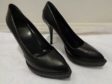 Gucci Black Leather Heels Classic Casual Platforms $579.00 SZ 37.5/7-NEW