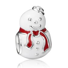 Smile Cute Snowman Design 925 Sterling Silver European Bead Charm For Bracelets
