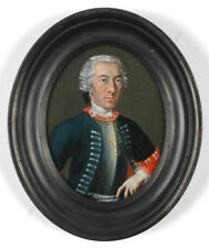 """""""Officer of Army of Holy Roman Empire"""", large oil on copper miniature, 18th c."""