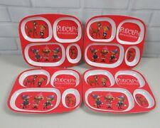 Rudolph Red-Nose Reindeer 4-Slotted Plastic Plate Christmas Tv Dinner Preschool