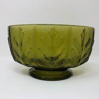 FTD Green Glass Oak Leaf Oval Low Candy Dish Bowl Compote Planter Vase Vintage