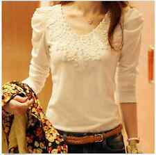 New Women Slim Lace Floral Top Ladies Long Sleeve T Shirt Blouse Fashion