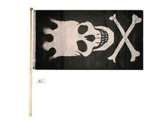 5' Wood Flag Pole Kit Wall Mount Bracket 3x5 Pirate Skull With Crown Poly Flag