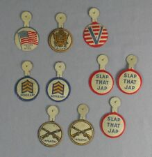 10 WWII Tin Litho Tab Buttons
