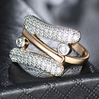Fashion Design Silver & Gold Filled Paved Crystal Rhinestone Women Lady Ring BOX