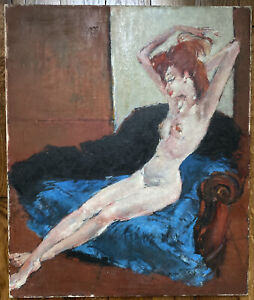 Tableau Ecole de Paris Goût Domergue Nu Femme Nue Peinture signée André Rigo