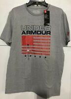 Men's SZ XL UNDER ARMOUR UA Heatgear American Flag T-Shirt Gray  Freedom