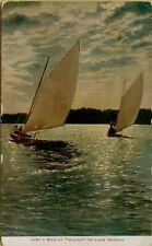 1919 Sailboats Boats Spin at Twilight on Lake Geneva Ny Postcard B46