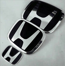 3pcs JDM Honda Black Accord 2-Door Coupe Front Rear Steering Emblem badges 08-17