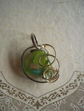 Vintage Necklace Pendant Sterling silver Dichroic Art Glass Green Aqua Purple