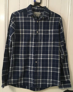 """TU Blue and White Checked Cotton Shirt, 40"""" Chest"""
