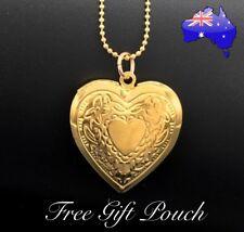 Gold Love Heart Photo Memory Locket Pendant Necklace Women's Jewellery Gift NEW