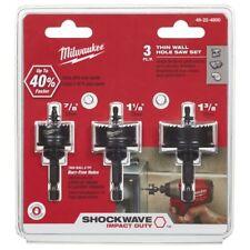 """Milwaukee SHOCKWAVE THIN SHEET METAL HOLESAW SET 3Pcs 22-32mm, 1/4"""" Hex Shank"""
