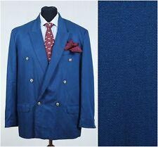 Mens Party Club Double Breasted Blue Peak Lapel Blazer Jacket Big SIZE XL, UK 44