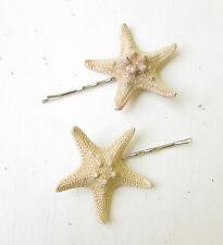 2x Naturel Vrai Starfish Épingle À  Cheveux Sirène Étoile Poisson Clips