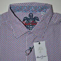 Robert Graham Red White Blue Houndstooth Sport Shirt Size XL - $198 NWT