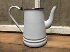 Vintage Porcelain Coffee Tea Pot Pitcher White Blue Old Rustic Farm House Decor