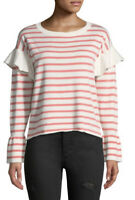 NWT Women's Neiman Marcus L/S Flounce-Shoulder Striped Sweater Sz Large