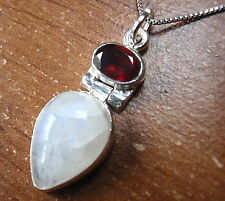 Moonstone Faceted Garnet Pendant 925 Sterling Silver Corona Sun Jewelry c82-2